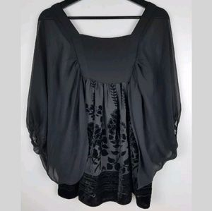 Womens Flowy Top Crushed Velvet Sheer Sleeves